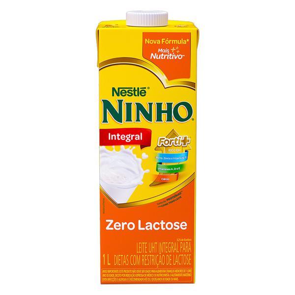 Leite UHT Integral Zero Lactose Nestlé Ninho Forti+ Caixa com Tampa 1l