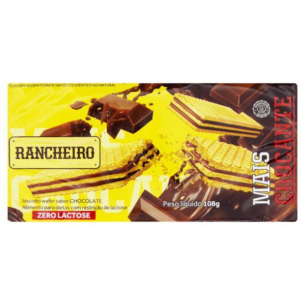 Biscoito Wafer Recheio Chocolate Zero Lactose Rancheiro Pacote 108g