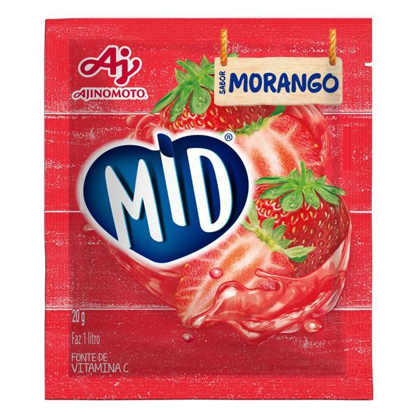 Refresco em Pó Morango Mid Pacote 20g