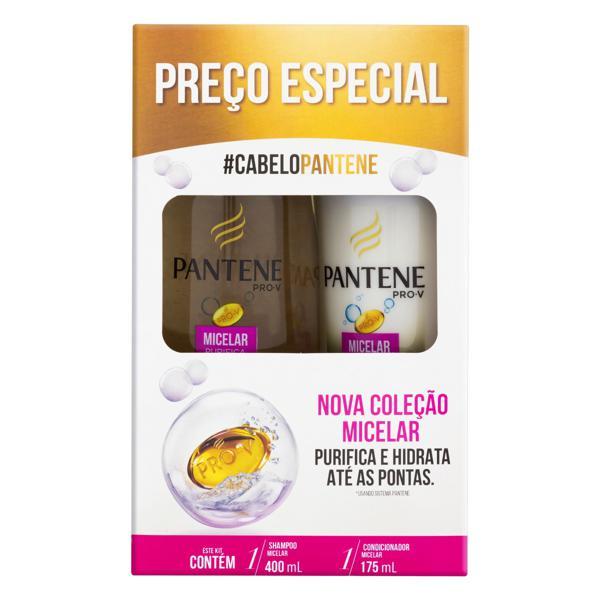 Kit Shampoo 400ml + Condicionador 175ml Pantene Micelar Purifica & Hidrata
