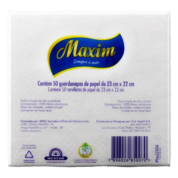 Guardanapo de Papel Folha Simples Maxim 23cm x 22cm Pacote 50 Unidades