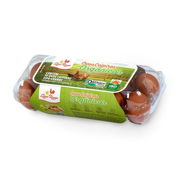Ovos Caipiras Orgânicos LABEL ROUGE com 10 Unidades