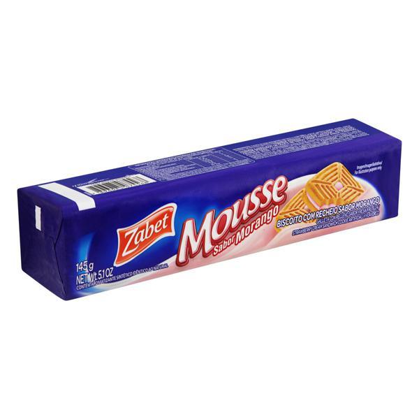 Biscoito Recheio Morango Zabet Mousse Pacote 145g