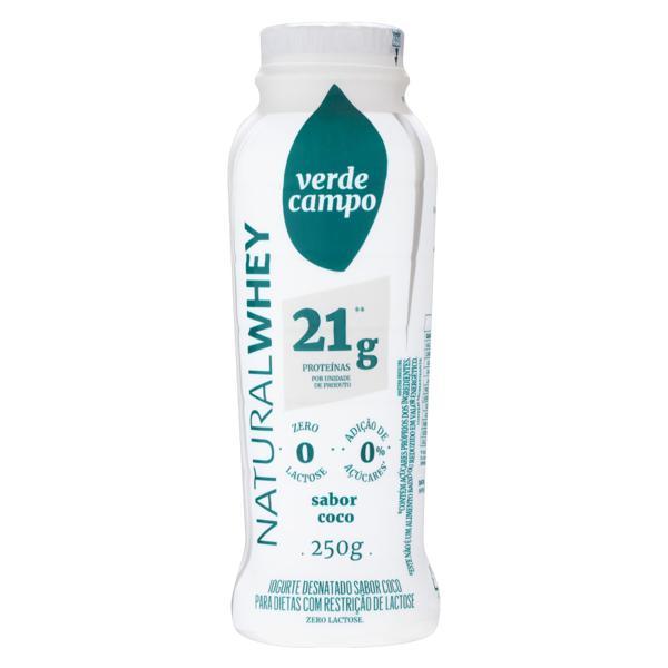 Iogurte Desnatado Coco Zero Lactose Verde Campo Natural Whey Frasco 250g