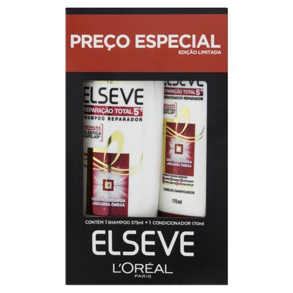 Kit Shampoo 375ml + Condicionador 170ml L'oréal Paris Elseve Reparação Total 5+