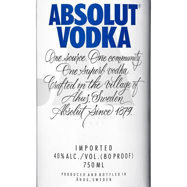 Vodka Destilada Absolut Garrafa 750ml