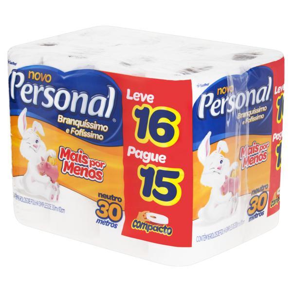 Papel Higiênico Folha Simples Neutro Personal 30m Pacote Leve 16 Pague 15 Unidades