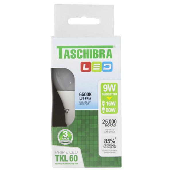 Lâmpada Led TKL 60 Fria 9W Taschibra Prime Led