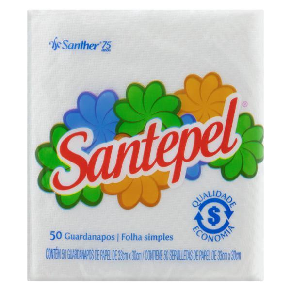 Guardanapo de Papel Folha Simples Santepel 33cm x 30cm Pacote 50 Unidades