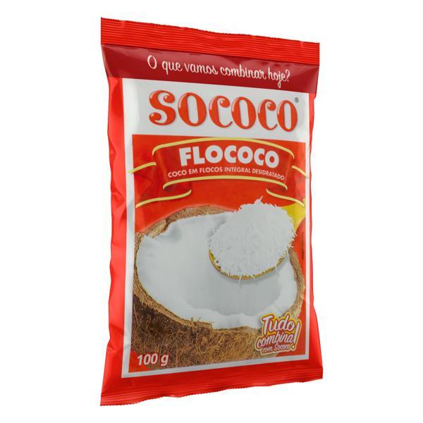 Coco Ralado Desidratado em Flocos Sococo Flococo Pacote 100g