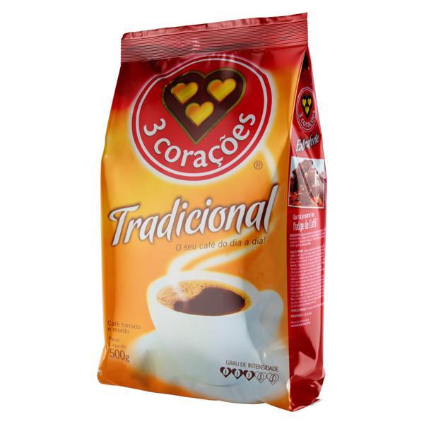 Café Torrado e Moído Tradicional 3 Corações Pacote 500g