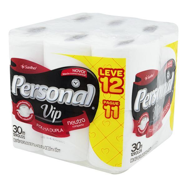 Papel Higiênico Folha Dupla Neutro Personal Vip 30m Pacote Leve 12 Pague 11 Unidades
