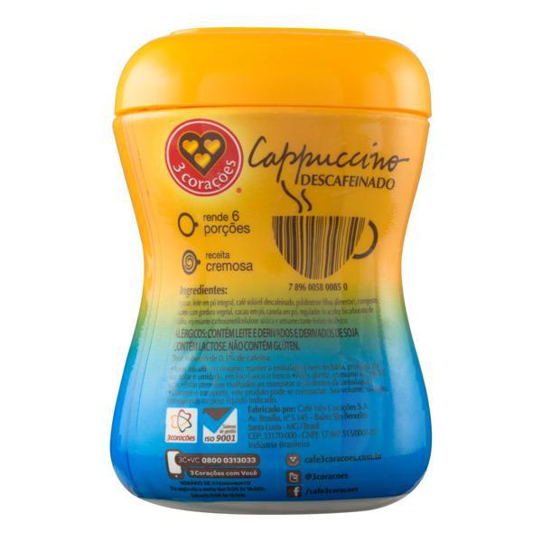 Cappuccino Solúvel Descafeinado 3 Corações Pote 200g