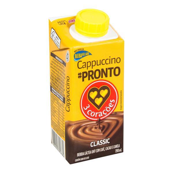 Bebida Láctea UHT Cappuccino Classic 3 Corações Caixa 190ml