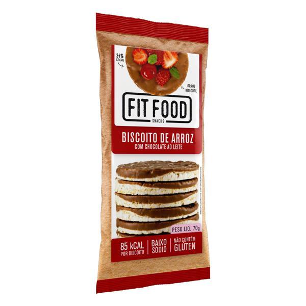 Biscoito de Arroz Integral com Chocolate ao Leite Fit Food Pacote 70g