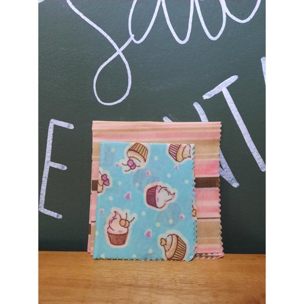 Tecido Sustentável Pano de Cera de Abelha Kit Com 2 Tamanhos Cupcakes e Listras (P e M) BIOPANOS