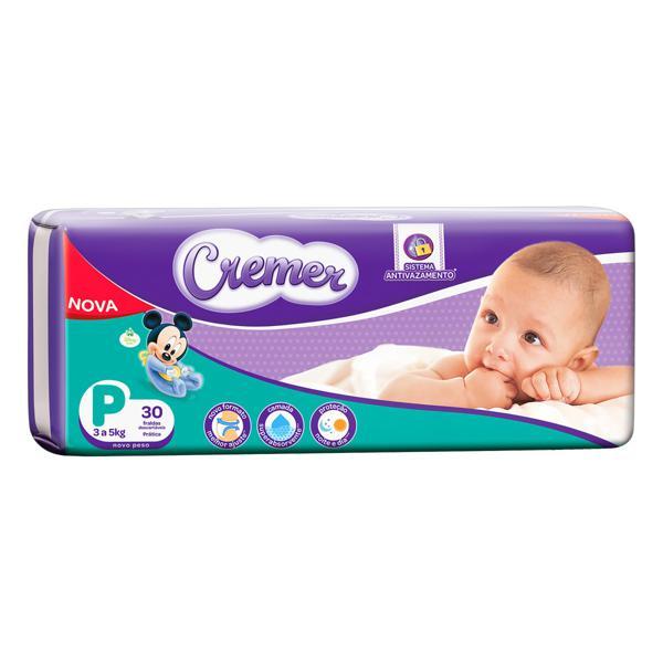 Fralda Descartável Infantil Cremer tam P pacote c/30 Unidades