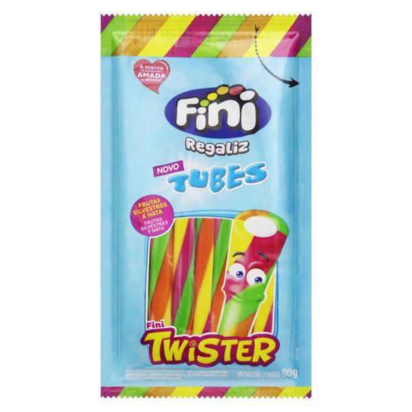 Bala Regaliz Frutas Silvestres e Nata Fini Tubes Twister Pacote 80g