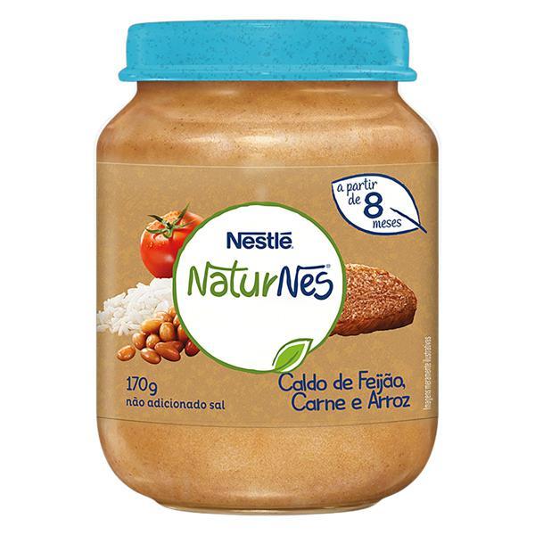 Papinha Caldo de Feijão, Carne e Arroz Nestlé Naturnes Vidro 170g