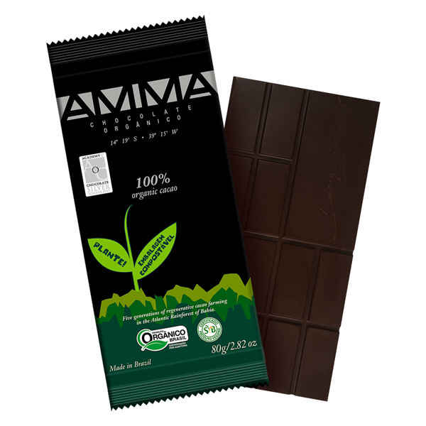 Chocolate 100% cacau 80g - Amma