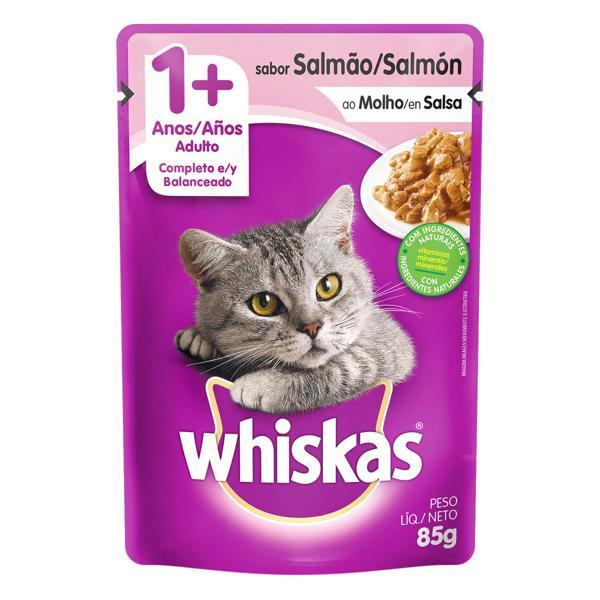 Alimento para Gatos Adultos 1+ Salmão ao Molho Whiskas Sachê 85g