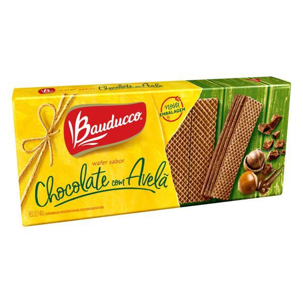 Biscoito Wafer Recheio Chocolate com Avelã Bauducco Pacote 140g