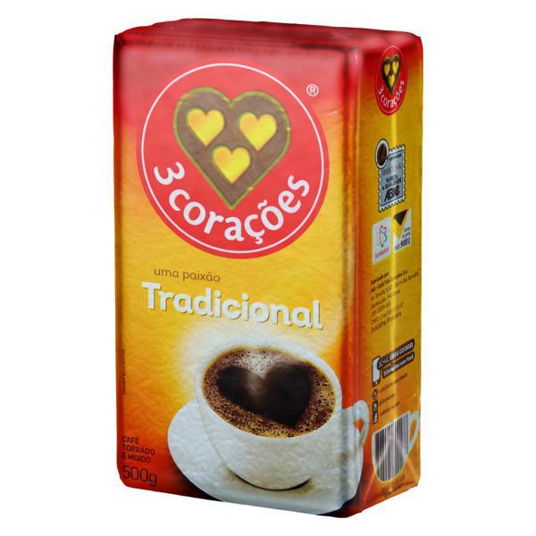 Café Torrado e Moído a Vácuo Tradicional 3 Corações Pacote 500g