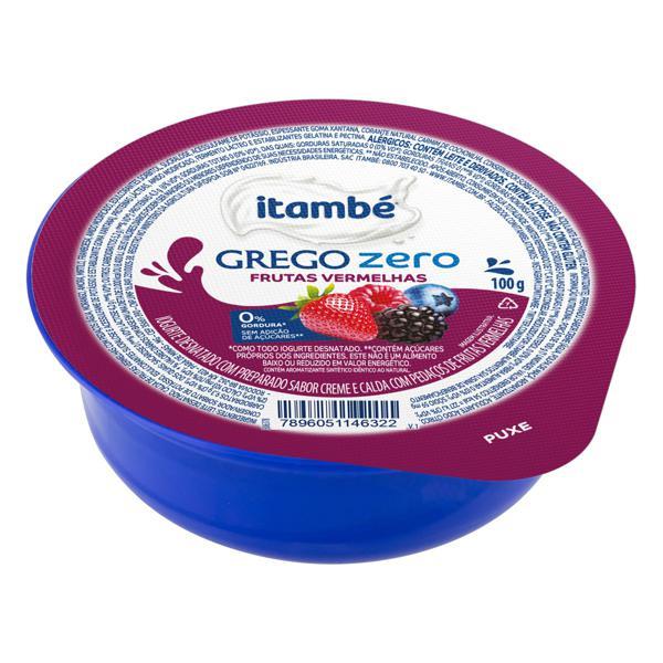 Iogurte Desnatado Grego Calda Frutas Vermelhas Itambé Zero Pote 100g