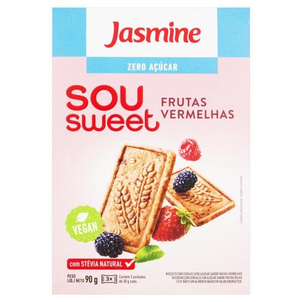 Biscoito Frutas Vermelhas Zero Açúcar Jasmine Sou Sweet Caixa 90g
