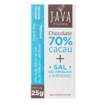 Chocolate 70% Cacau, Sal do Himalaia, Amêndoas Java 25g