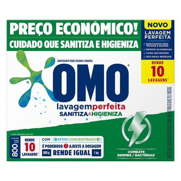 Lava-Roupas em Pó Omo Lavagem Perfeita Sanitiza & Higieniza 800g