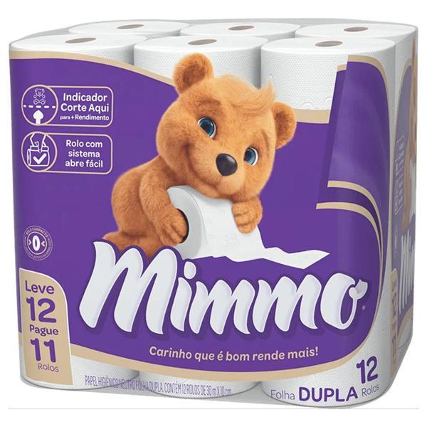 Papel Higiênico MIMMO Folha Dupla 30mX10cm Com 12 Unidades