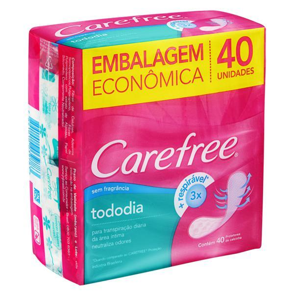 Protetor Diário sem Abas Carefree TodoDia Pacote 40 Unidades Embalagem Econômica