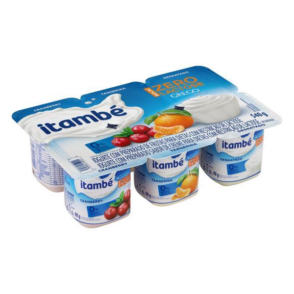 Iogurte Desnatado Grego Cranberry + Tangerina + Creme Zero Lactose Itambé Nolac Bandeja 540g 6 Unidades