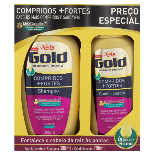 Kit Shampoo 300ml + Condicionador 200ml Niely Gold Compridos + Fortes