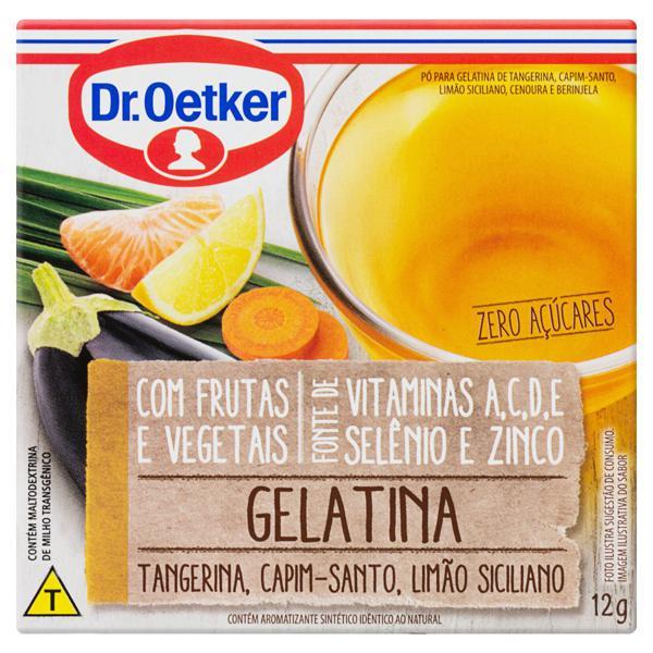 Gelatina em Pó Tangerina, Capim-Santo, Limão Siciliano, Cenoura e Berinjela Zero Açúcar Dr. Oetker Caixa 12g