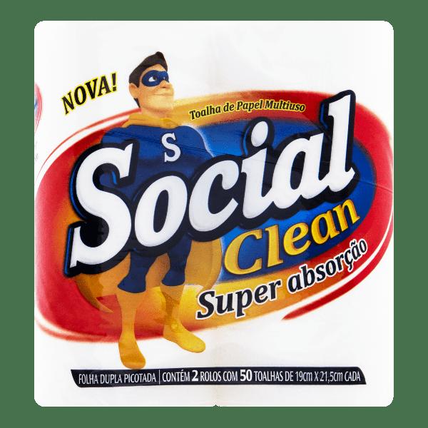 Toalha de Papel Multiuso SOCIAL Clean Folha Dupla 2 Rolos com 50 Unidades cada