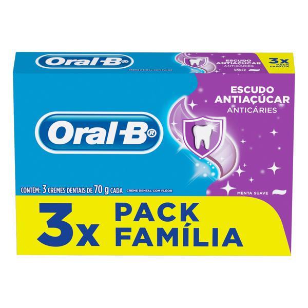 Pack Creme Dental Menta Suave Oral-B Escudo Antiaçúcar Caixa 3 Unidades 70g Cada Família