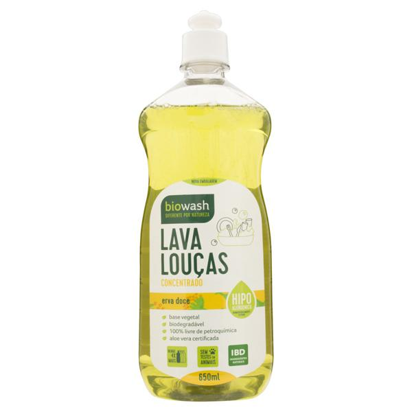 Lava-Louças Líquido Concentrado Erva-Doce Biowash Frasco 650ml