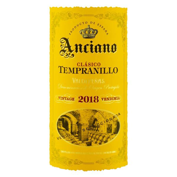 Vinho Espanhol Tinto Seco Clássico Anciano Tempranillo Valdepeñas Garrafa 750ml