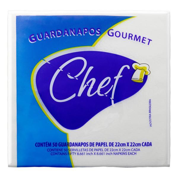 Guardanapo de Papel Folha Simples Chef Gourmet 22cm x 22cm Pacote 50 Unidades