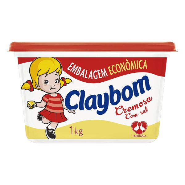 Margarina Cremosa com Sal Claybom Pote 1kg Embalagem Econômica