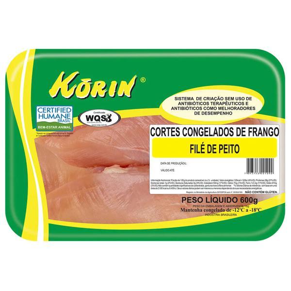 Filé de Peito de Frango Congelado KORIN 600g