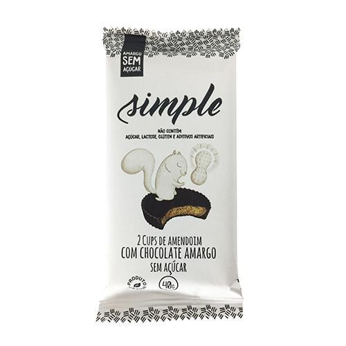 Cups de Amendoim Com Chocolate Amargo Sem Açúcar 40g SIMPLE