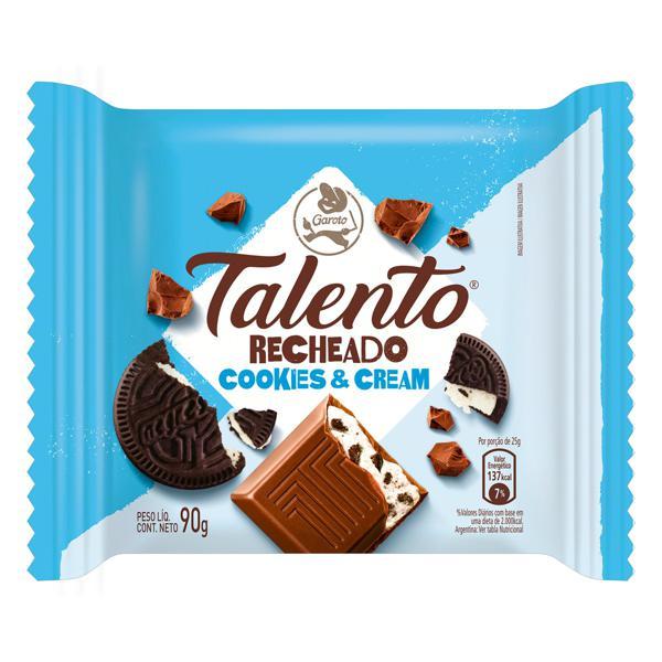 Chocolate ao Leite Recheio Cookies & Cream Garoto Talento Pacote 90g