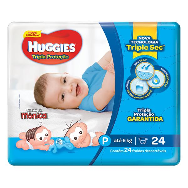 Fralda Descartável Infantil Huggies Tripla Proteção P Pacote 24 Unidades