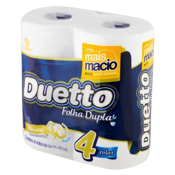 Papel Higiênico Folha Dupla Neutro Duetto 30m Pacote 4 Unidades