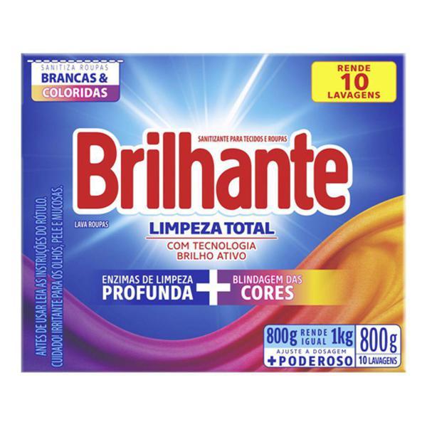 Detergente em Pó Brilhante Limpeza Total 800g Cartucho
