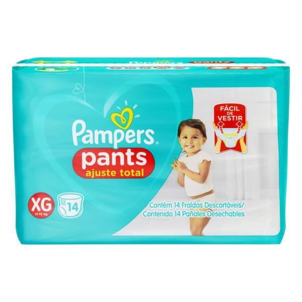 Fralda Descartável Infantil Pants Pampers Ajuste Total XG Pacote 14 Unidades