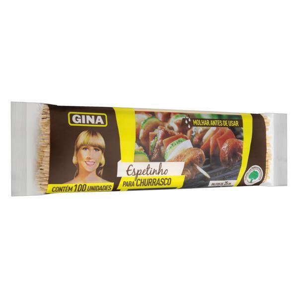 Espetinho para Churrasco Madeira Gina 25cm Pacote 100 Unidades